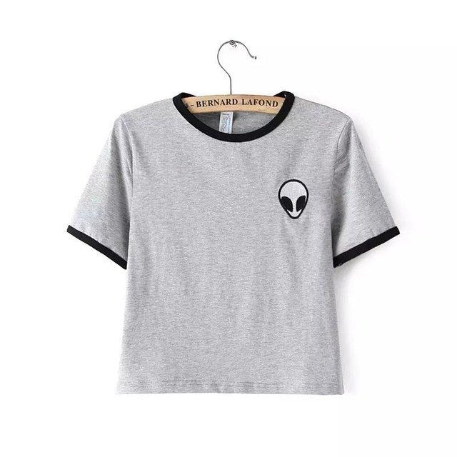 Diseño del bordado Aliens camisetas mujeres divertido barato manga ...
