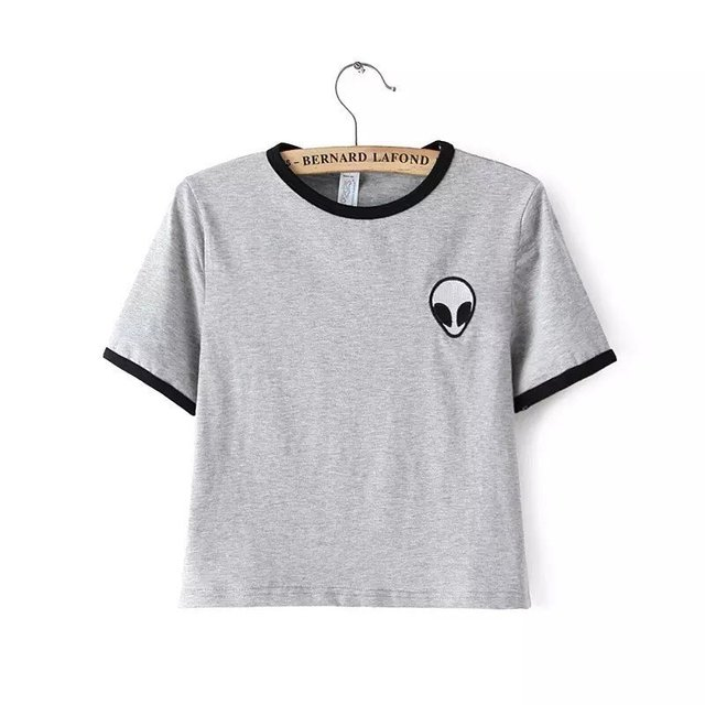 Embroidery Design Aliens T Shirts Women Funny Cheap Short Sleeve ...