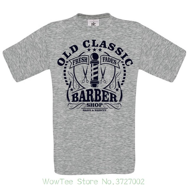 e0fe3705 Old Classic Barber Shop Dtg. Full Colour T Shirt T Shits Printing Short  Sleeve Casual O-neck Cotton