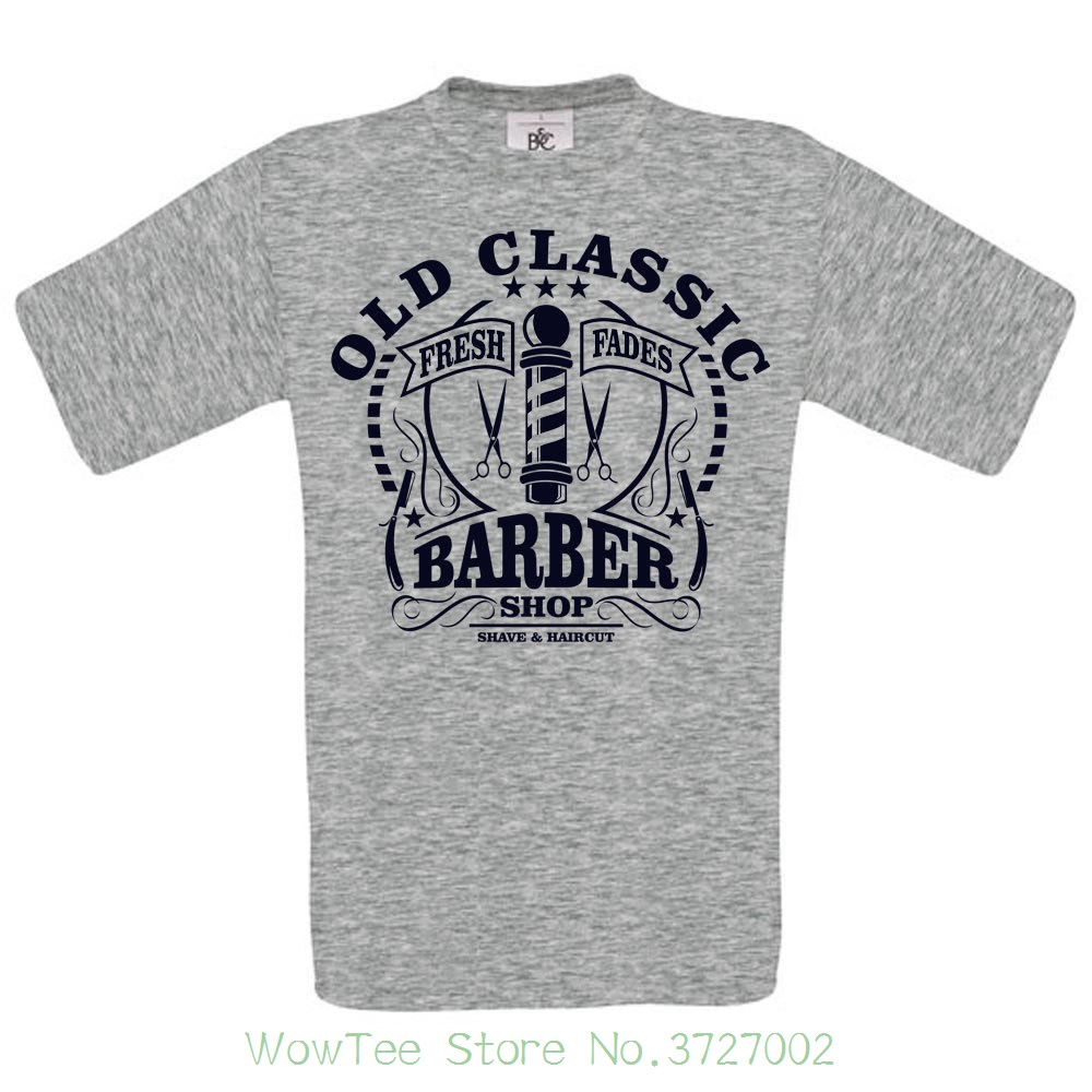 Old Classic Barber Shop Dtg. Full Colour T Shirt T Shits Printing Short Sleeve Casual O-neck Cotton