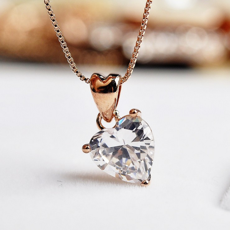 USTAR Zircon Crystal Heart Pendant Necklace Austrian Crystals rose Gold color Bijoux women Fashion Jewelry Christmas gift yoursfs fashion jewelry women s necklace with heart pendant white gold plated crystal engraved mom for women gift