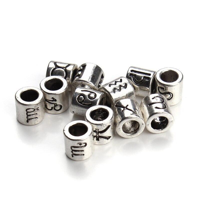 Perles rondes zodiaque mélangées de couleur argent, grandes perles d'espacement avec des trous, de 4mm, adaptées à la fabrication de bijoux, DIY, 60 pièces/lot, F3061