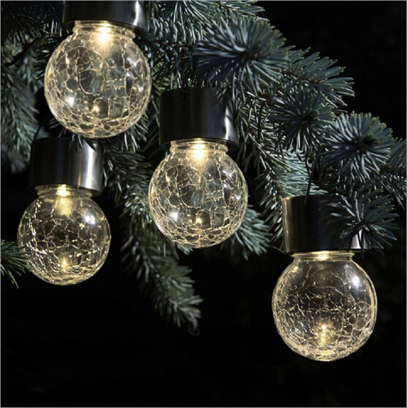 solar outdoor garden light solar led lantern high quality crackle glass ball led bulb lights. Black Bedroom Furniture Sets. Home Design Ideas