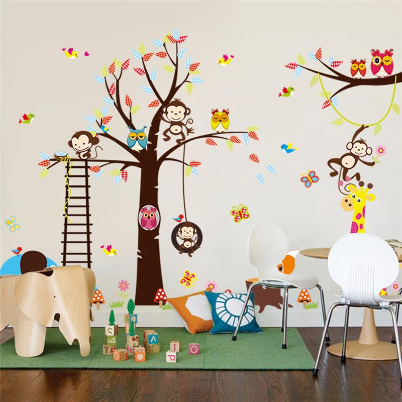 % גדול עץ בעלי החיים מדבקות קיר לחדר ילדים בית קישוט קוף ינשוף קריקטורה גן חיות לילדים בייבי בית diy מדבקות קיר לאמנות
