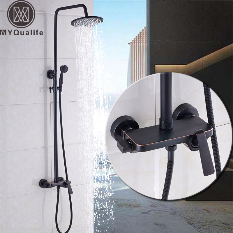 Black Bronze Large Rain 12 inch Shower Set Faucet Single Handle Plate Shelf Mixer Valve Bath Shower Taps Brass Handshower chrome finish 8 inch shower faucet bath shower mixer taps brass wall mount shower arm abs handshower brass mixer valve