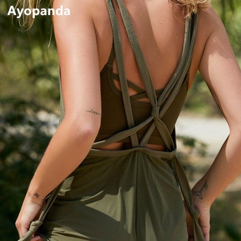 Ayopanda New Trailblazer Onesie Comfy Sun Salutation Bodysuit Back Strappy Womens Tracksuit Four-way Stretch Sports Yoga Suit