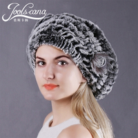 Joolscana beret winter hats for women real fur cap female beanie hand wrave rabbit fur warm and fashion hat