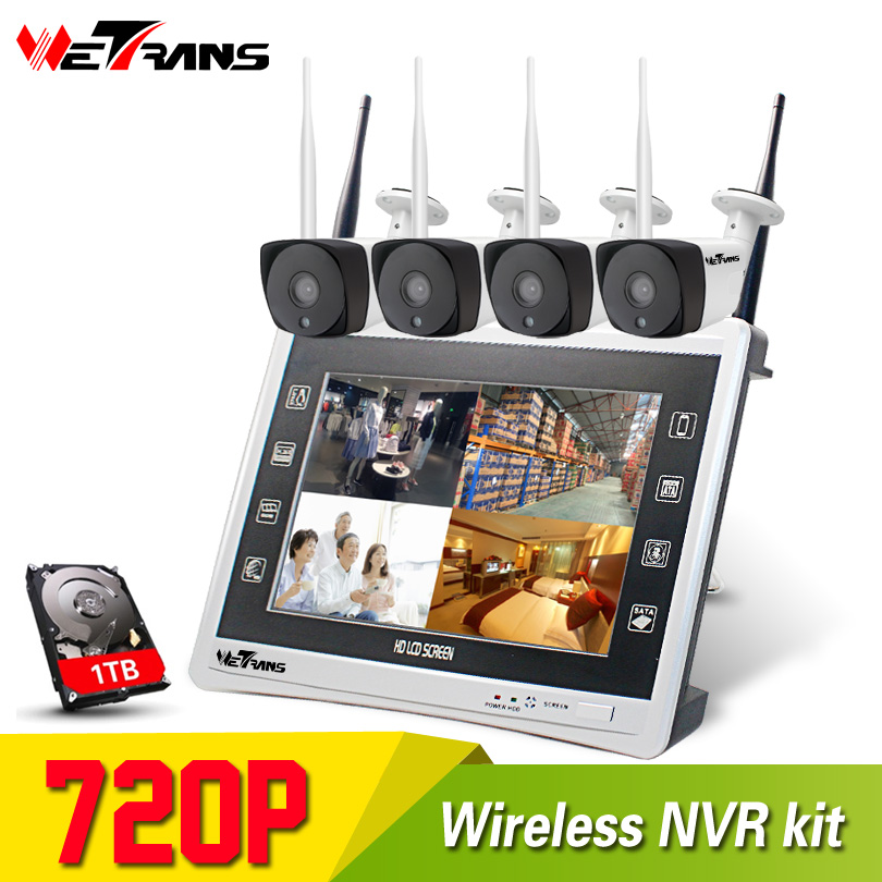 Home Security CCTV System 4CH Wireless NVR 11 Inch LCD Display Night Vision Wifi Outdoor 1MP 720P HD Surveillance Camera Kit цена