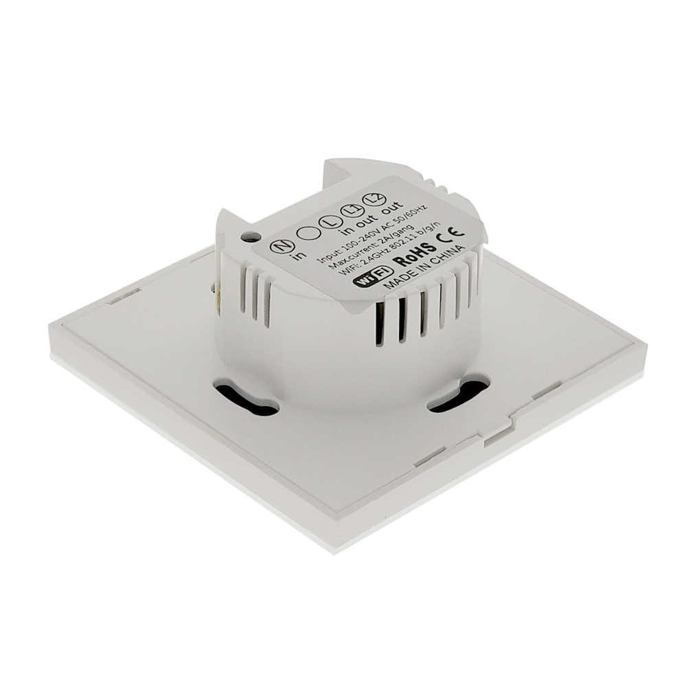 Умный Wifi настенный сенсорный выключатель 1 2 3 банды стеклянный настенный светильник Переключатель ЕС стандартный белый Ewelink Приложение Поддержка Alexa Google Home