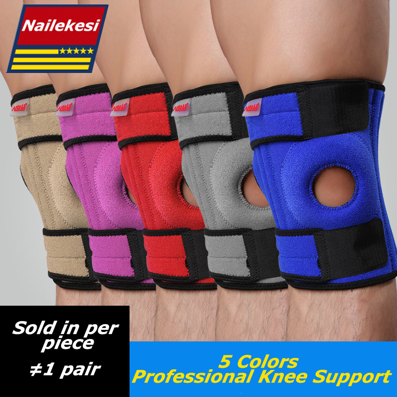 Купить с кэшбэком 1PC Elastic Knee Support Brace Kneepad Adjustable Patella Volleyball Knee Pads Basketball Safety Guard Strap Protector