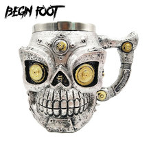 Game Of Thrones Creative 3D Skull Three-dimensional Relief Goblet Cup Metal Wine Tea Milk Coffee Mug Caneca Copo Halloween Gift particular handled skull design 400ml wine coffee tea cup