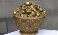 China Fengshui Cobre Latão YuanBao Dinheiro Tesouro tigela cofrinho Dragão tigela a 0518 a 0518|bowls singing|bowls white|bowl feeder -