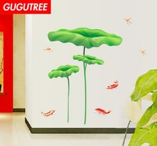 Decorate lotus fish dragonfly art wall sticker decoration Decals mural painting Removable Decor Wallpaper LF-1875