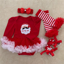 цены 2019 New Baby girl Clothes Newborn Christmas Outfits Sets Red Santa Claus Tutu Jumpsuit+Headbands+Leg Warmer+Shoes Baby Clothing