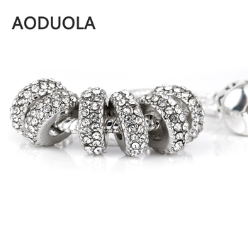 10 Pcs a Lot Silver plated Round Crystal Spacer Beads for Jewelry Making rhinestone DIY Bead Fit For Pandora Charms Bracelets