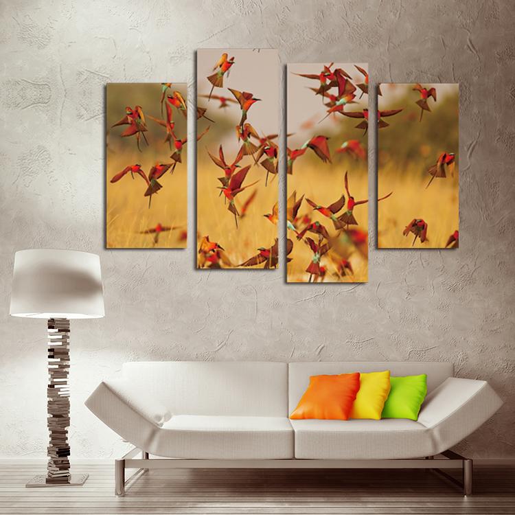 arte de la pared pintura de la lona unids pjaros rojos modernos cuadros murales para