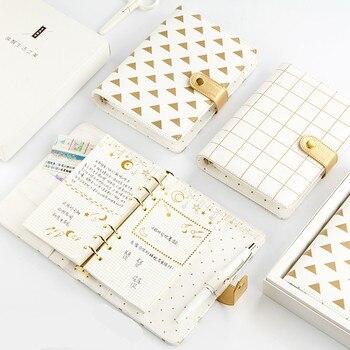 A6 Śliczne Mint Różowy Biały Planner Agenda Notebook Spirali 2018 Złota Spoiwa Diary Czasopisma Książki Szkolne Szkicownik H0168