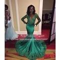 Sexy verde esmeralda prom dress 2017 mermaid sheer longo da luva frisada applique laço de cetim africano preto vestidos de baile menina