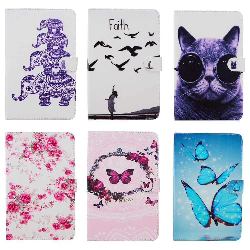 Fashion Cartoon owl Butterfly painting Wallet PU Leather Stand Case Cover For Samsung Galaxy Tab E 9.6 T560 SM-T560 T561