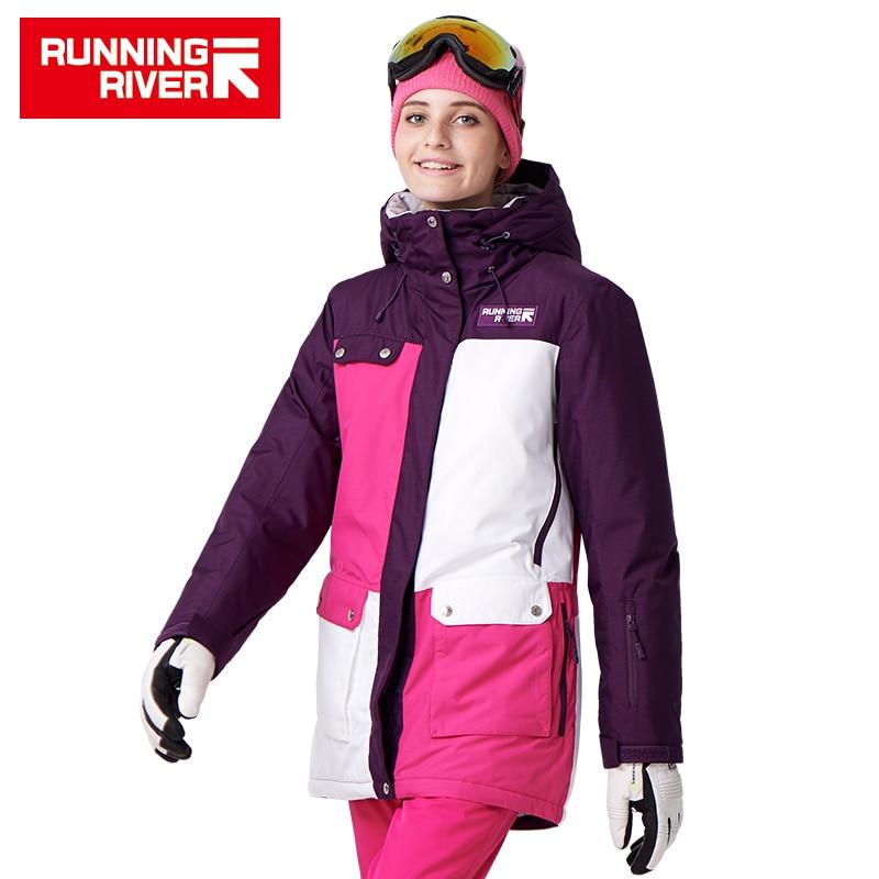 FIUME che scorre Donne di Marca di Snowboard Giacche Per L'inverno Caldo a Metà coscia Sport All'aria Aperta Abbigliamento di Alta Qualità Sport Jacket # A7022