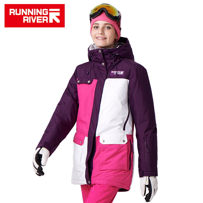 RUNNING RIVER Brand Women Snowboard Jackets For Winter Warm Mid-thigh Outdoor Sports Clothing High Quality Sport Jacket #A7022