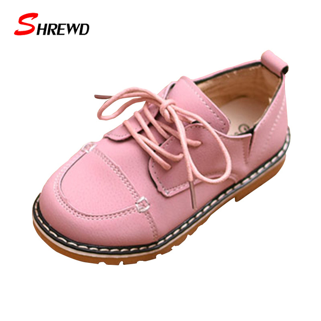 Children Leather Shoes 2017 Sprign New Fashion Retro Girls Kids Dress Shoes Solid England Kids Shoes Insole 16.3-19cm 9600W