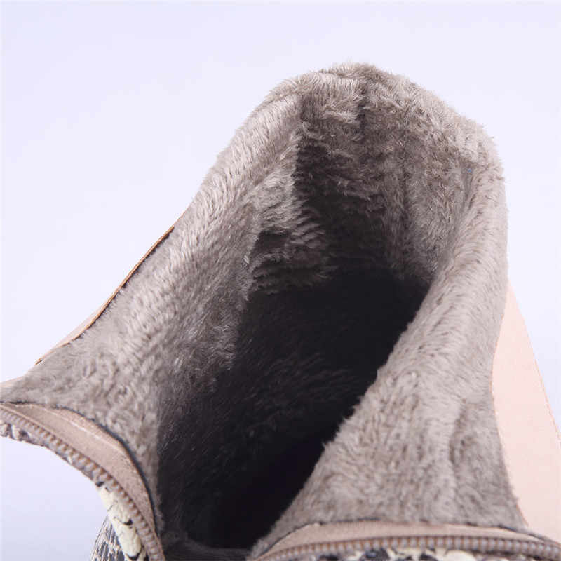 Snake Skin Ankle Boots Sexy Thick Heels Women Shoes Brand Ladies Martin Boots Winter Warm Botas Mujer New Thigh High Boots 46
