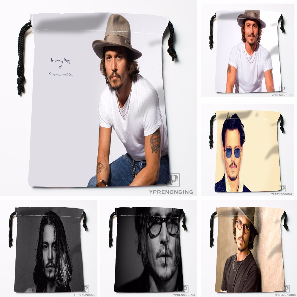 Custom Johnny Depp Drawstring Bags Printing Fashion Travel Storage Mini Pouch Swim Hiking Toy Bag Size 18x22cm#180412-11-18