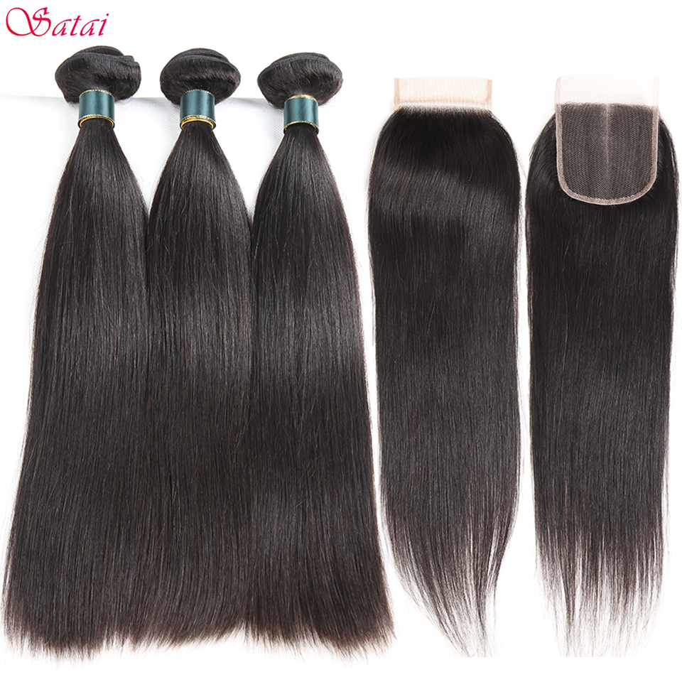 SATAI Straight Human Hair Bundles with Closure Peruvian Hair 3 Bundles With Closure Natural Color Non Remy Hair Extensions ...