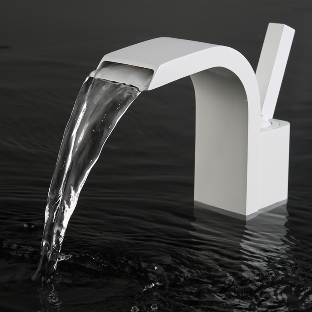 ᑎ‰Contemporary Brass Single Hole White Waterfall Faucet ...