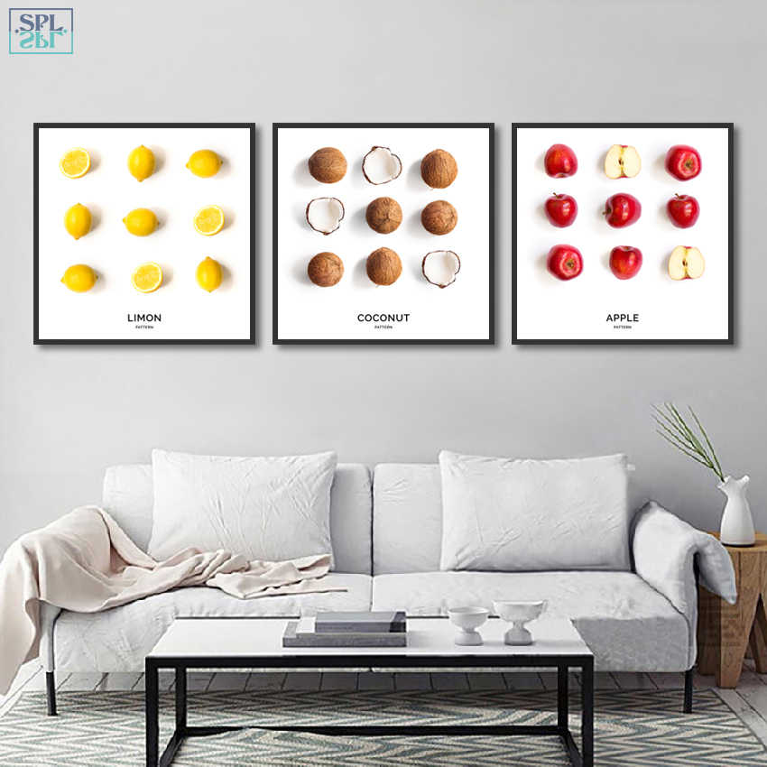 SPLSPL Lemon Apple Coconut Fruit Food Wall Picture Frameless Canvas Art Print Poster Painting for Kitchen Room Home Decor
