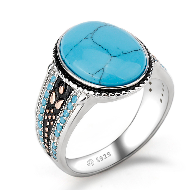 925 Sterling Silver Turquoise Ring Oval Sky Blue Stone Life Track Significance Ring for Men Wedding Fine Jewelry vintage artificial oval turquoise butterfly carved ring