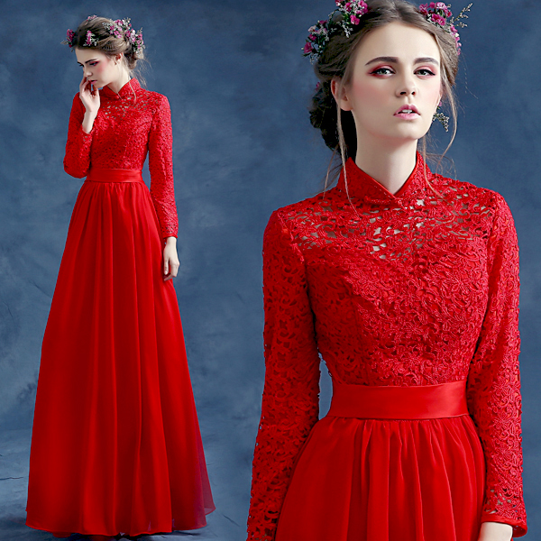 Red Long Sleeve Lace&Chiffon Floor Length Chinese Oriental Dresses ...