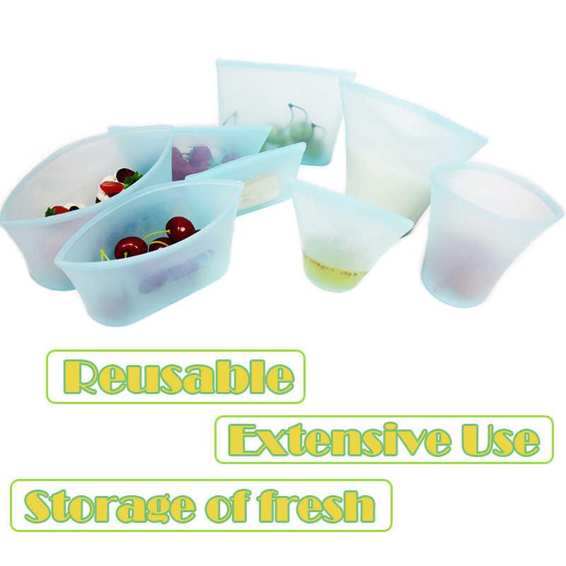 3Pcs Silicone Bag Food Storage Containers Leakproof Fresh Bowl Reusable Zip Shut Bag Fruit Vegetable Reusable Storage Containers