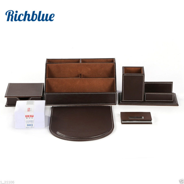 Ever Perfect 6Pcs/Set PU Leather Desk Set Stationery Desk Organizer Box 5 Compartments Pen Holder Mouse Pad Note Case Name Card