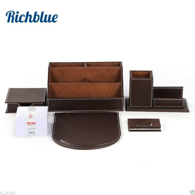 Ever parfait 6 pièces/ensemble ensemble de bureau en cuir PU papeterie organisateur de bureau boîte 5 compartiments porte stylo tapis de souris Note Case carte nominative