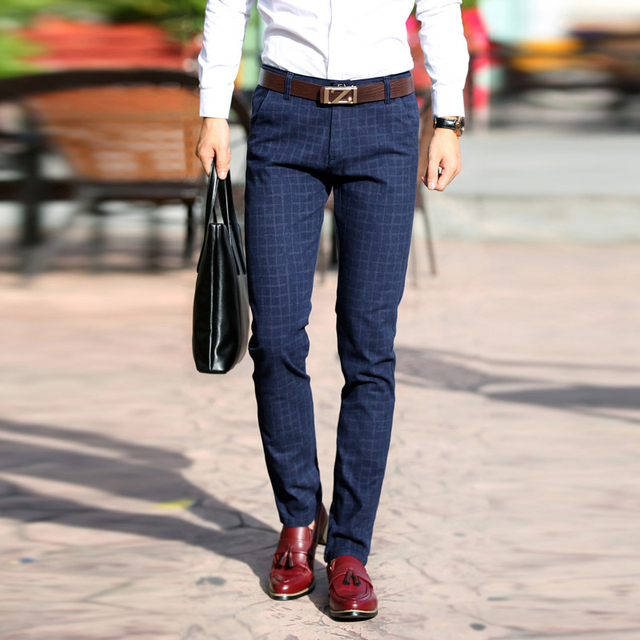 De alta Calidad de Los Hombres Ocasionales Pantalones de Tela Escocesa Delgadas Nuevos Corredores de Negocios de Moda Traje de Pantalones Para Hombre