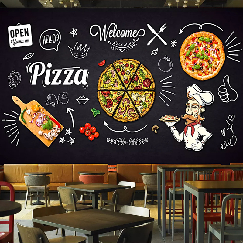 Custom 3D Photo Wallpaper Black Hand Painted Pizza Shop Restaurant Dining Room Decor Waterproof Self-adhesive Wall Mural Sticker