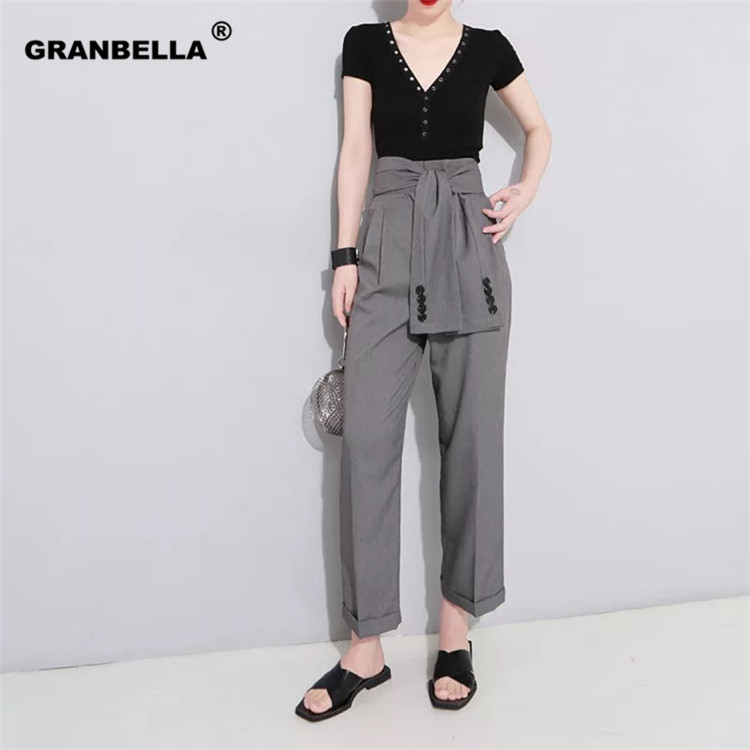 2019 Spring Fall High Waist Korean style Solid Color Temperament Tide Trend Fashion New Women's Casual   Wide     Leg     Pants   With Belt