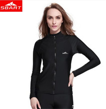 SBART Womens Long Sleeve Swimwear Rashguard Tops Windsurfing Swimsuit Surfing drifting Snorkeling Wetsuit Jacket цена
