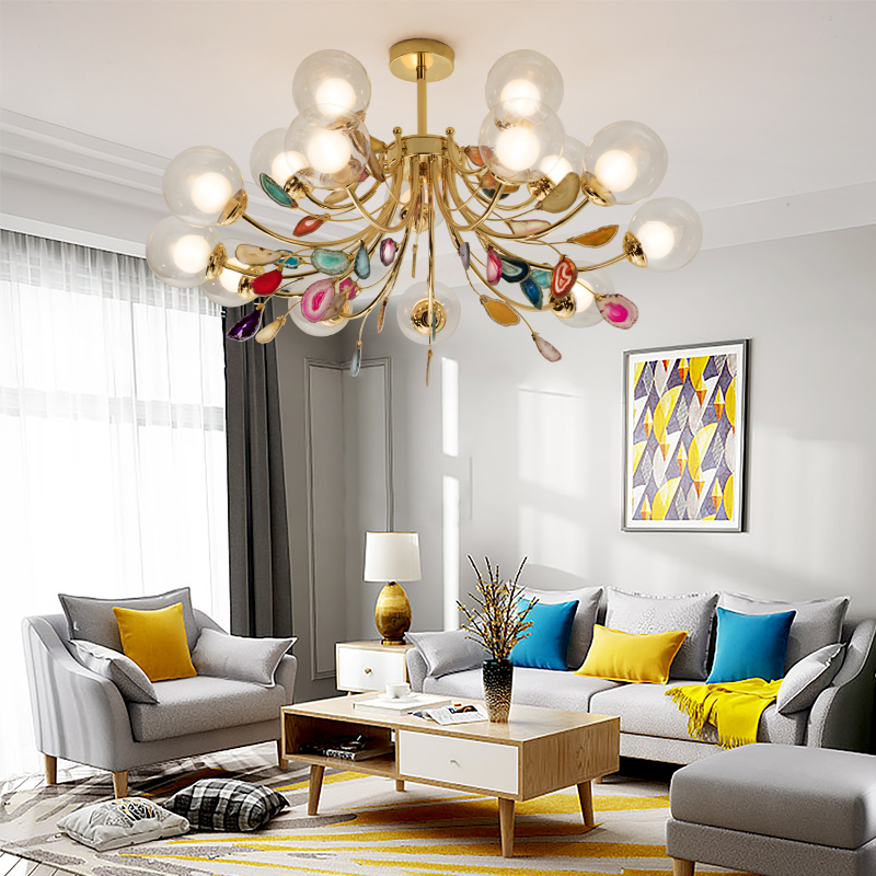 Image 5 - G9 Agate Chandeliers Glass Ball Lampshade Hanging Lamps Lustre Lighting Living Room Pendant Chandelier Lights-in Chandeliers from Lights & Lighting