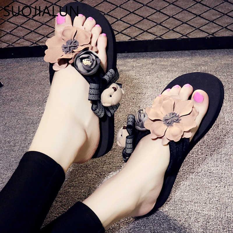 SUOJIALUN Vrouwen Schoenen Slippers Fashion Designer Zomer Vrouwen Flip Flops Schattige Beer Vrouwelijke Strand Slippers Dames Slides