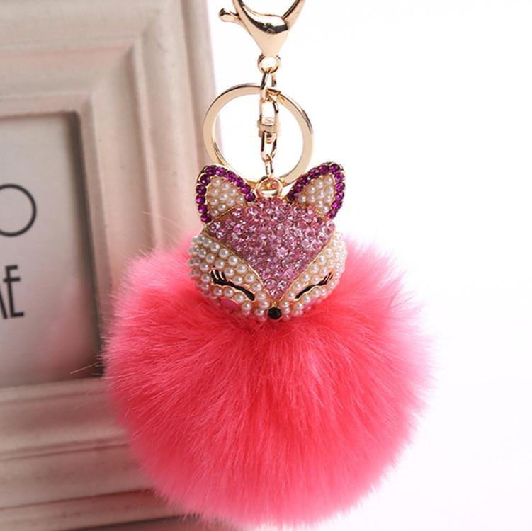 New Fashion Crystal Faux Fox Rabbit Fur Keychains Fur Ball Key chains Pompon Keyring for Charm Bag Pendant delicate faux fur dot mini bag shape keyring for women