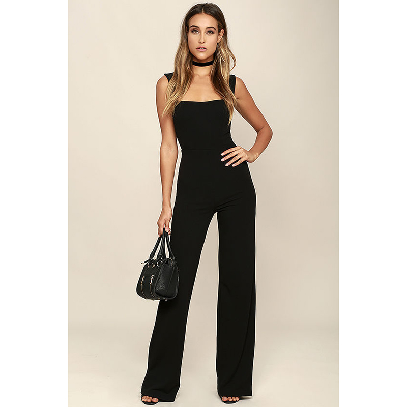 Womens Jumpsuit Elegant Lady Rompers Flared Square Neck Overalls Women Bodysuit Playsuit Female Dungarees Pantsuit Black Shein