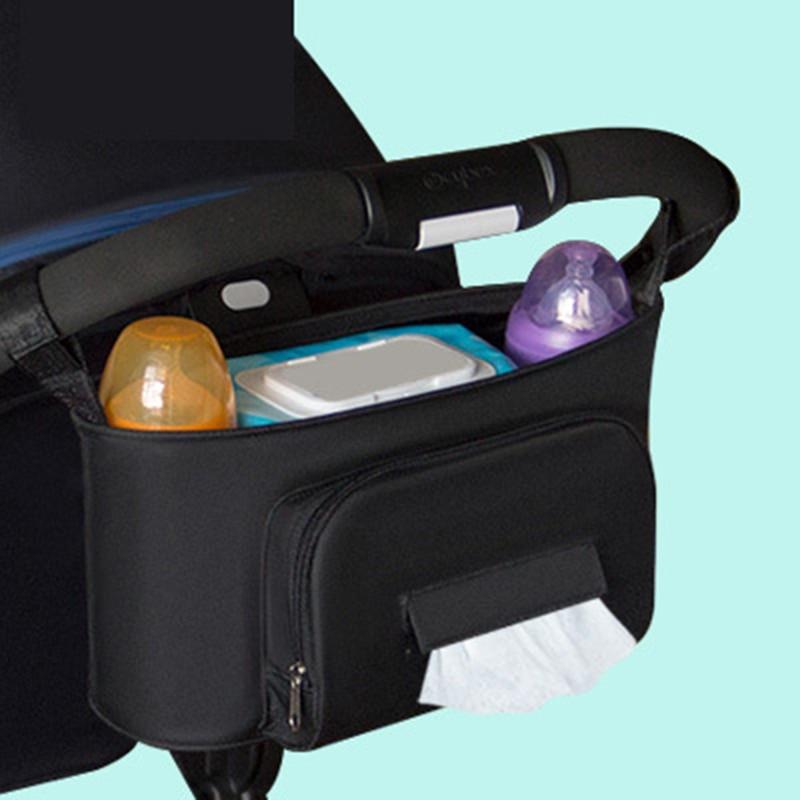 Baby Stroller Organizer Bag Storage Large Space Mom Diaper Nappy Bag Pram Cart Bottle Hanging Bag Multi-function Cup Holder
