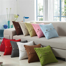 45*45cm Square Retro Solid cotton handmake Knitted Wool pillow case cover home plaid Decorative Throw Pillows Cover white