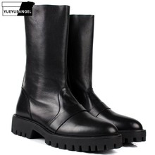 Fashion Brand High Top Mens Genuine Leather Men Mid Calf