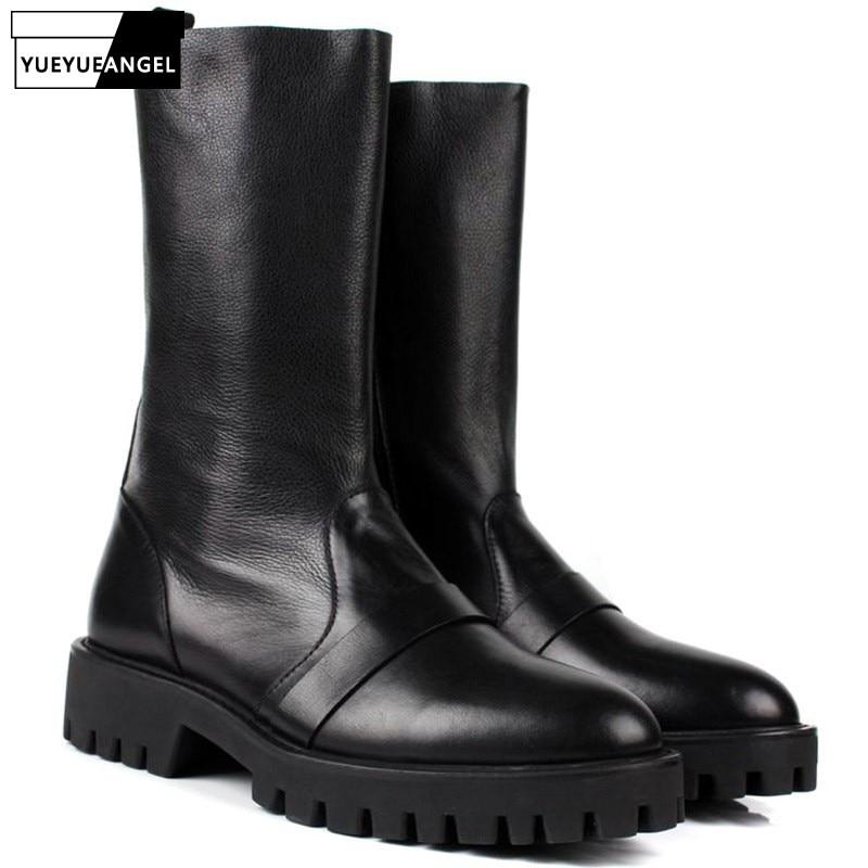 Mode marque haut Top hommes en cuir véritable hommes mi-mollet chaussures épaissir plate-forme mode bottes armée militaire Botas pour hommes