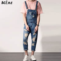 Free Shipping Mens Casual Denim Jumpsuit Mens Jeane Overalls Ripped Vintage Bib Pants Male Suspenders Jeans
