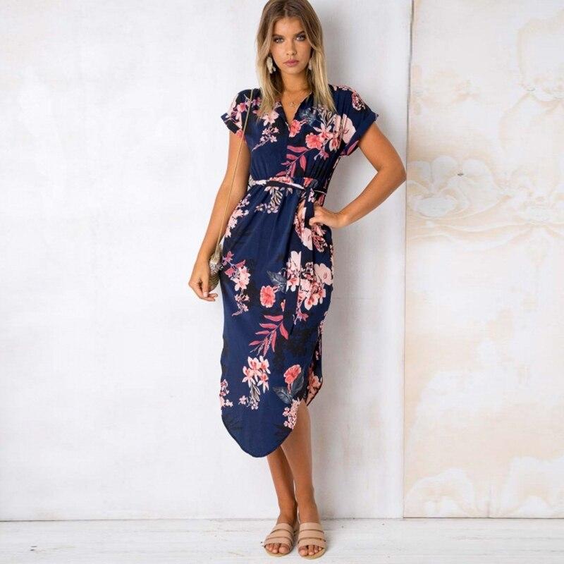 2018 Summer Sexy Long Floral Print Boho Beach Dress Women Plus Size Elegant Short Sleeve Bandage Bodycon Party Dress Sundress
